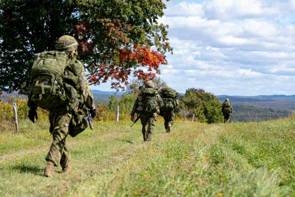 Canadian infantry soldiers marching