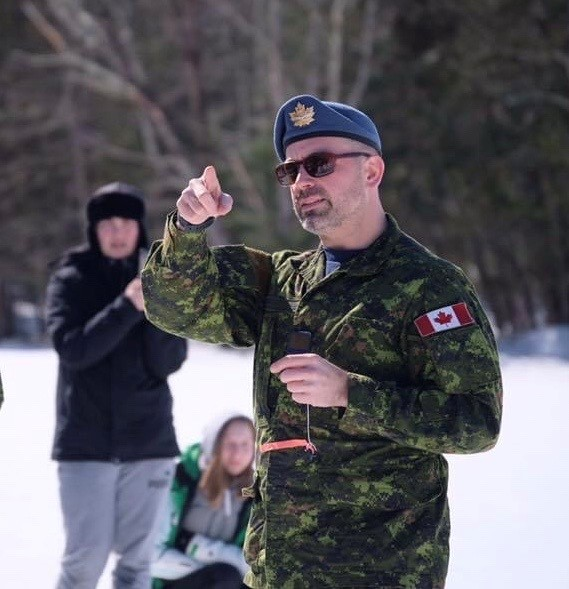 Major Tom Leslie giving instructions during the training held over Spring Break in early March 2020