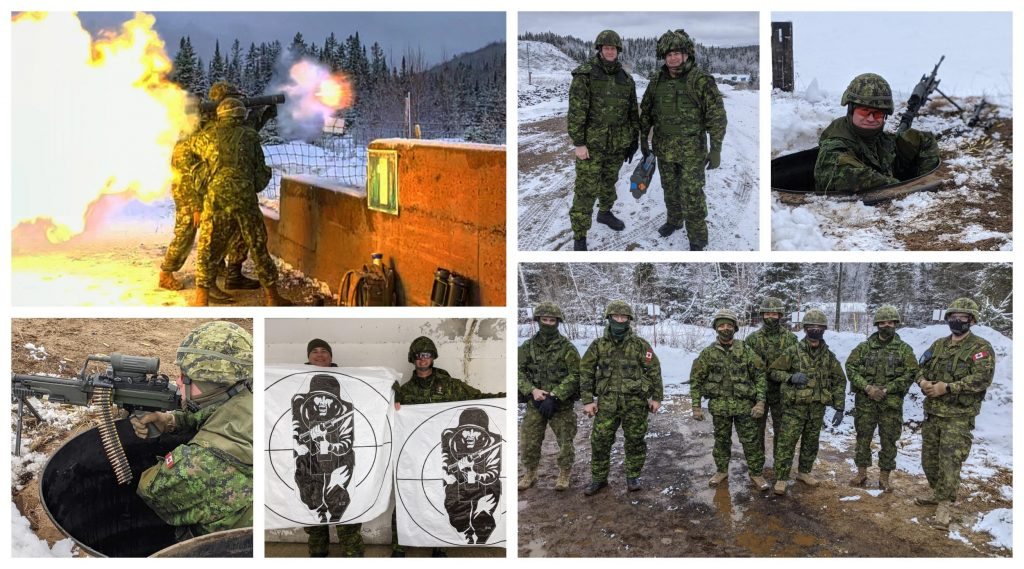 Canadian soldiers firing heavy weapons